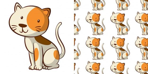 Бесшовный узор с милой кошкой