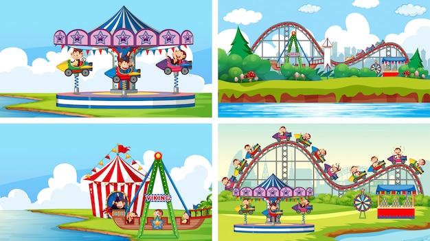 Четыре сцены с множеством аттракционов в веселой ярмарке