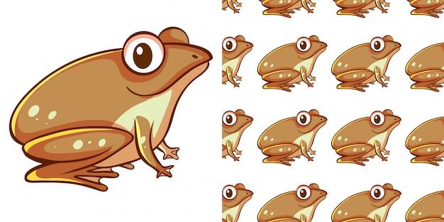 茶色のカエルとシームレスな背景デザイン