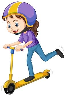 Счастливая девушка играет скутер на белом