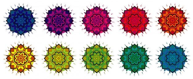 さまざまな色のマンダラパターン