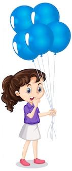 Девушка с голубыми воздушными шарами на изолированной