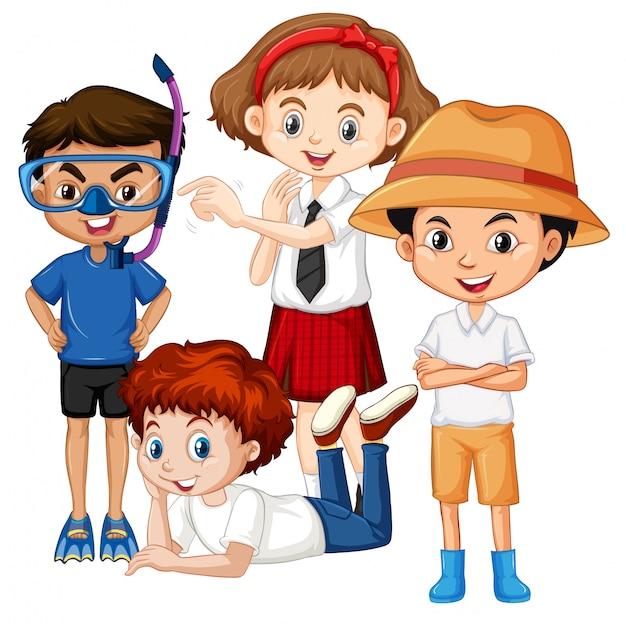 さまざまな衣装を着た多くの子供たち
