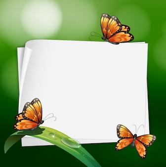 葉の上に蝶を持つボーダーデザイン