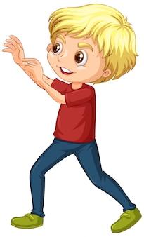 Мальчик в красной рубашке на белом