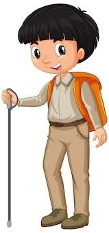 白のギアをハイキングを持つ少年