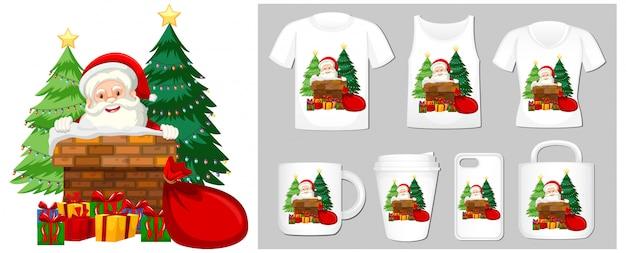 Рождественская тема с дедом морозом на шаблонах продуктов