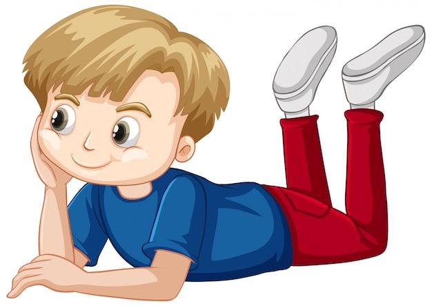 Милый мальчик в синей рубашке, устанавливающий