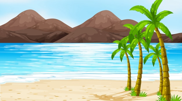 Сцена с кокосовыми пальмами на пляже
