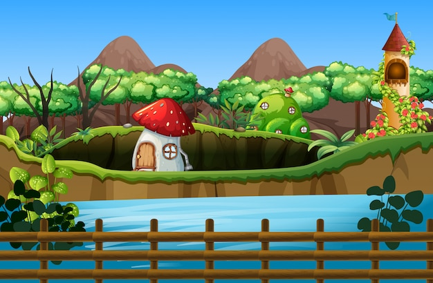 Сцена с грибным домом и башней