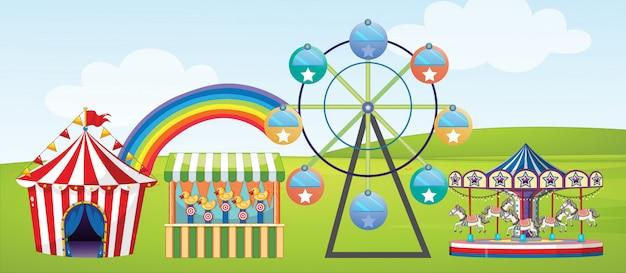 公園でサーカスに乗るシーン
