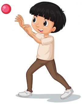Мальчик бросает мяч на белом