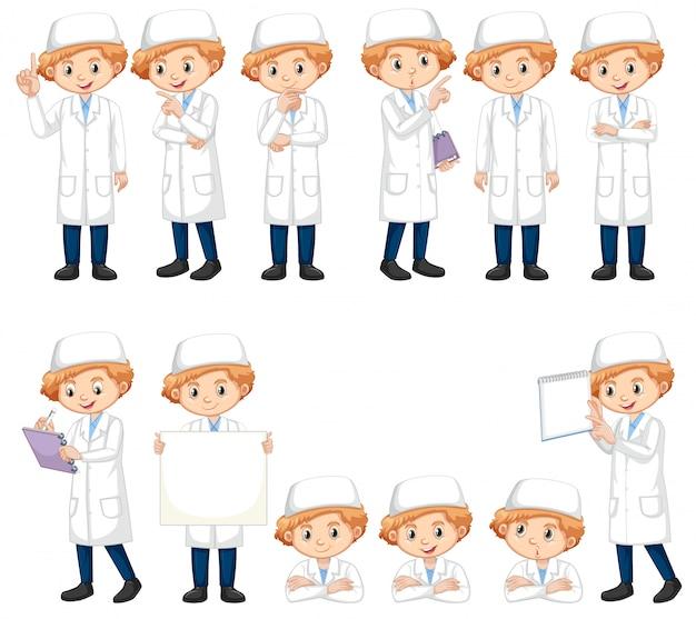 多くのポーズで科学ガウンの少年