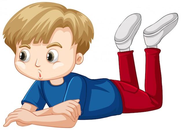 床に敷設青いシャツの少年