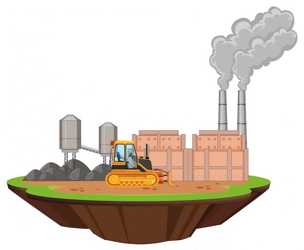 Сцена с заводскими постройками и бульдозером на площадке