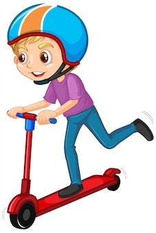 Мальчик играет скутер на белом фоне
