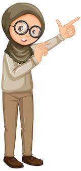 白い背景の上のサファリ制服でイスラム教徒の少女