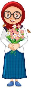 白い背景の上の花を持つイスラム教徒の少女