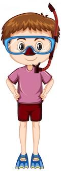 シュノーケルとフィンとピンクのシャツの少年