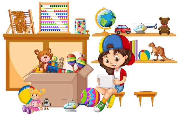 Полка и ящик с игрушками на белом