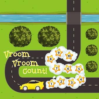 車と道路上の数字のゲームテンプレート
