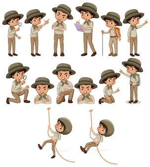 Мальчик в одежде сафари делает разные вещи