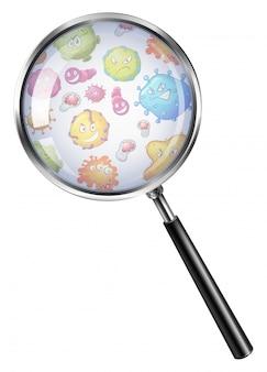 虫眼鏡を通して細菌