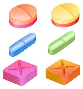 Различные формы лекарственных таблеток