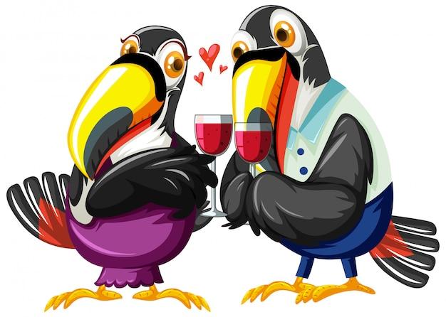 ワインを飲むオオハシカップル