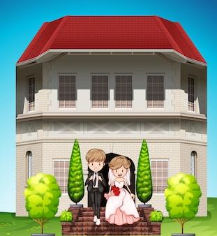 Пара в день их свадьбы