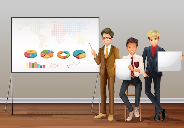 Бизнесмены и презентационные диаграммы