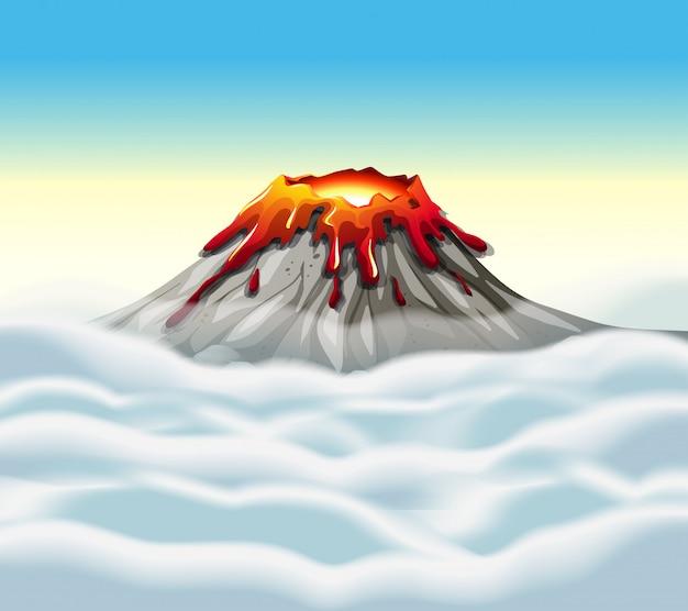 Пик вулкана в небе
