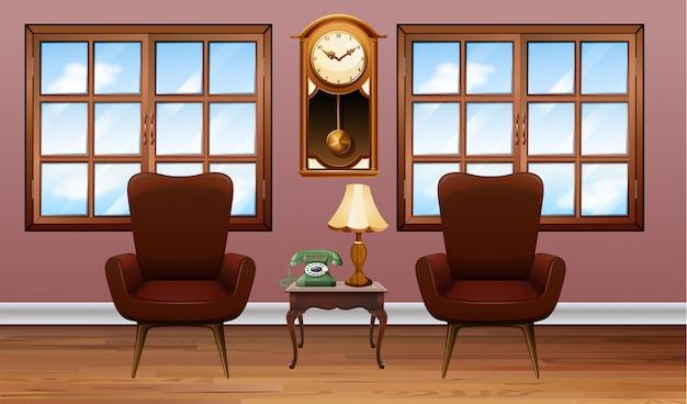 Комната с двумя коричневыми креслами