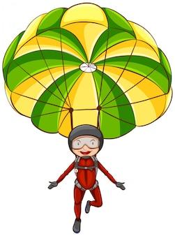 パラシュートを持つ男