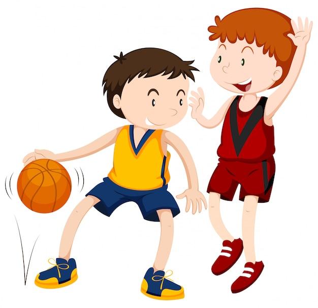 Два мальчика играют в баскетбол