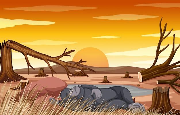 Сцена контроля загрязнения с обезьяной и вырубкой леса