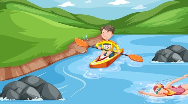 川でウォータースポーツをしている人々とのシーン