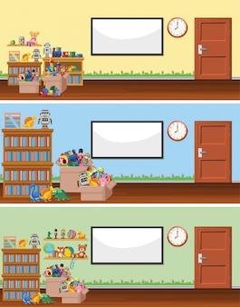 Сцена с доской и игрушками