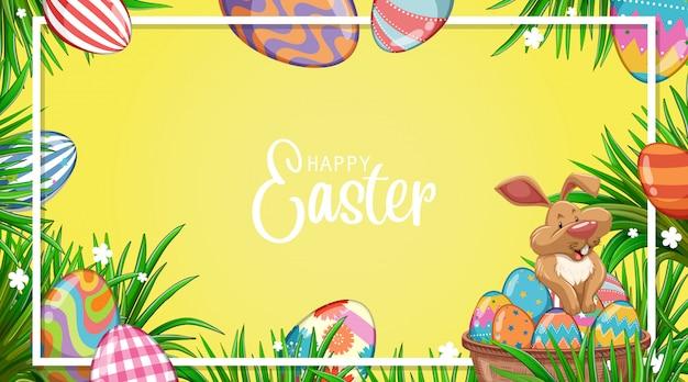 Дизайн иллюстрации для пасхи с кроликом и крашеными яйцами в саду