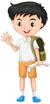 白地に緑のバックパックを持つ少年