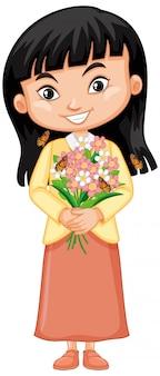 Милая девушка с цветами и бабочками на белом