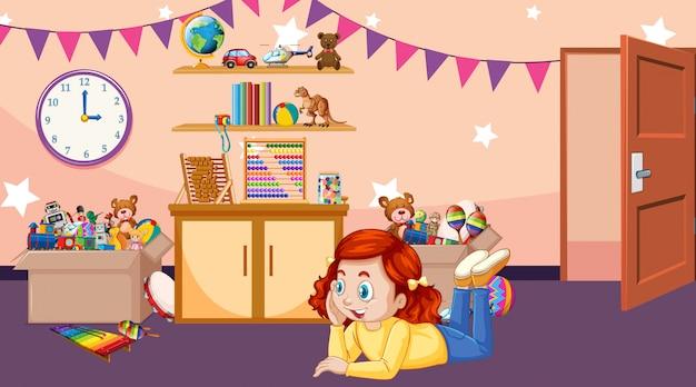 Сцена с девушкой, играющей в комнате