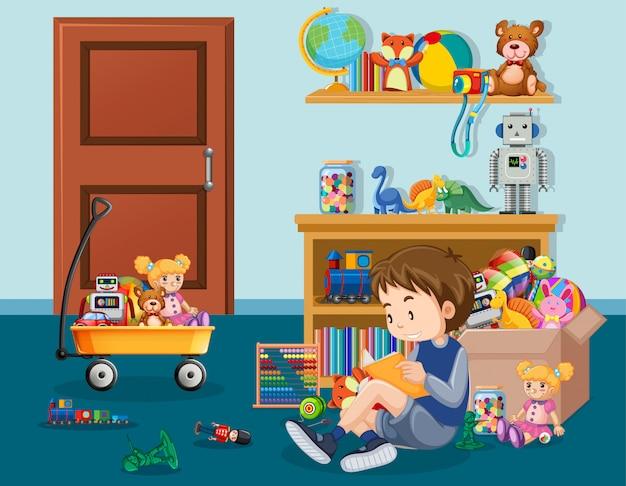 Сцена с книгой чтения мальчика в комнате