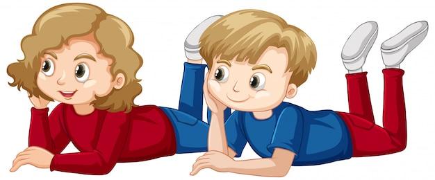男の子と女の子が床に敷設