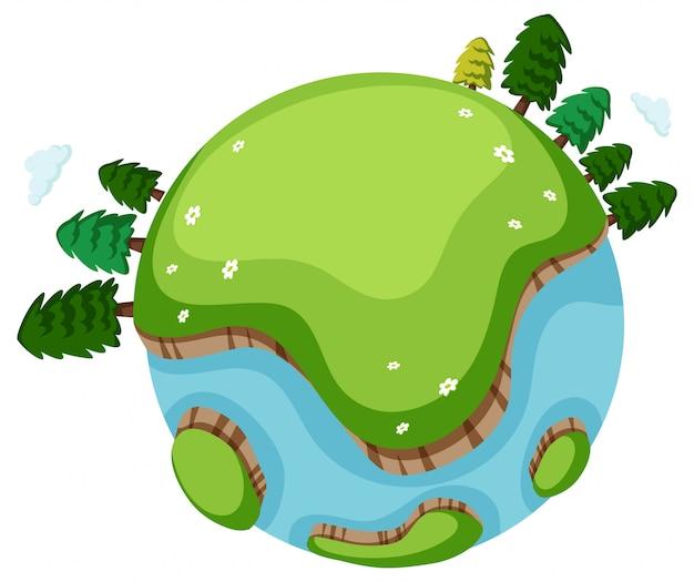 Много деревьев и зеленой травы на земле