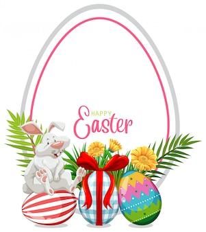 Открытка на пасху с пасхальным кроликом и крашеными яйцами