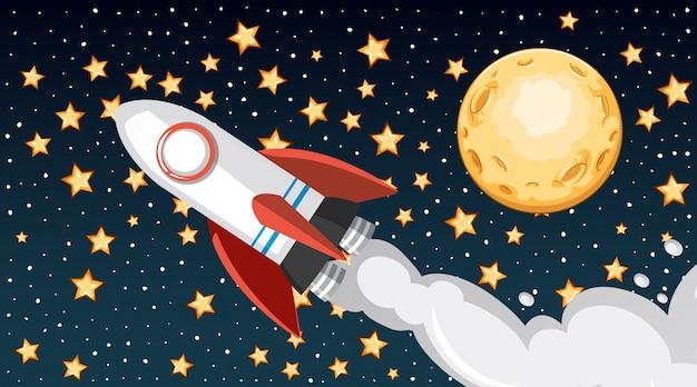 空を飛んでいる宇宙船と背景デザイン
