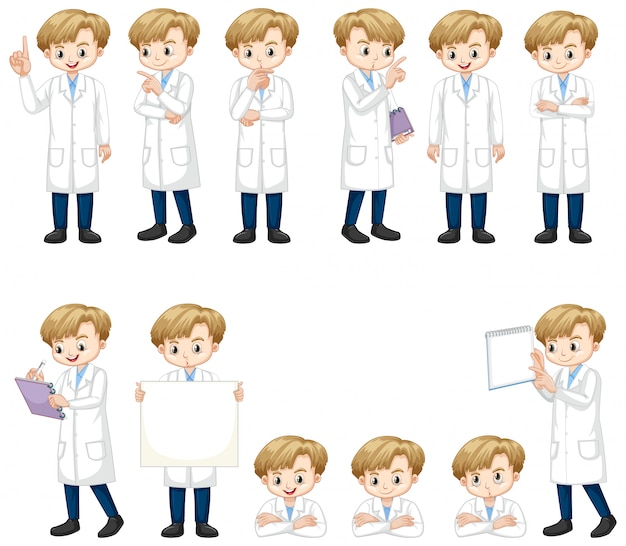 多くのアクションを行う科学ガウンの少年のセット