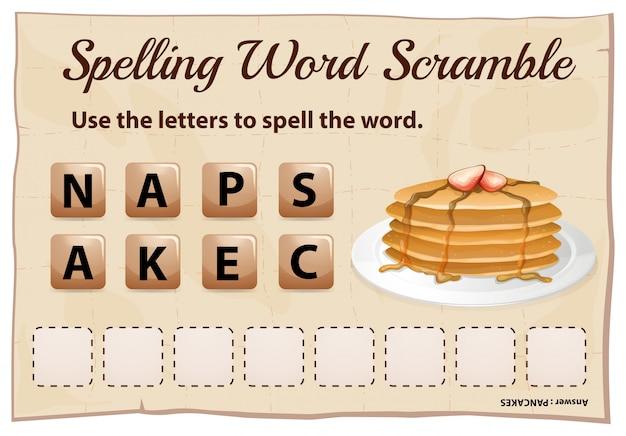 単語のパンケーキとスペルスクランブルテンプレート