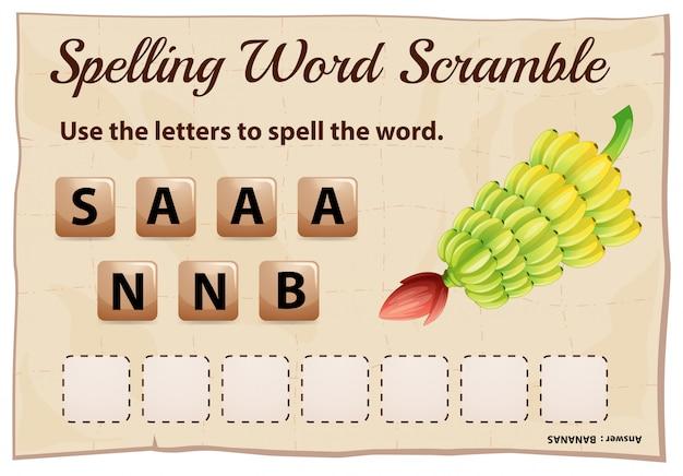 単語バナナのスペルスクランブルテンプレート